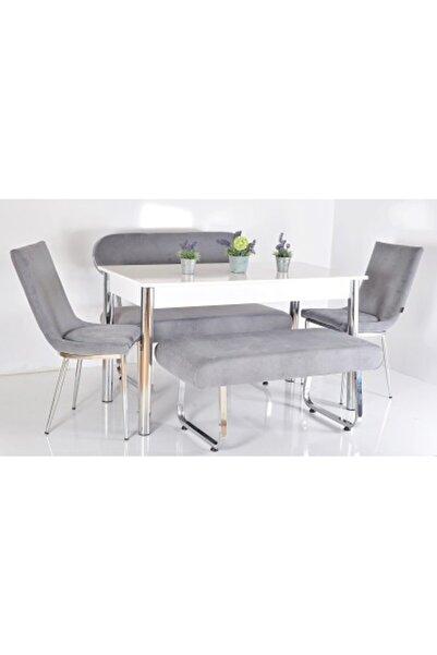 Kaktüs Avm 6 Kişilik Masa Sandalye Takımı Banklı Mutfak Masası