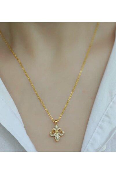 ms merijewelry Altın Kaplama Fransız Zambağı Kolye