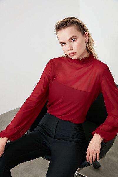 TRENDYOLMİLLA Bordo Fırfır Detaylı Bluz TWOAW20BZ0602