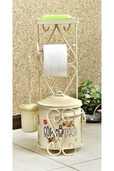 FBZhome Ferforje Wc Seti Standlı Çöp Kovası Tuvalet Kağıtlığı Ve Fırçası Krem