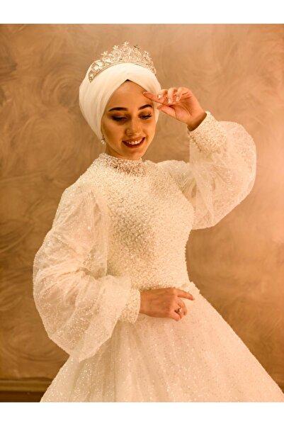 Womentic Bridal Kadın Beyaz Zilbirli Tesettür Gelinlik