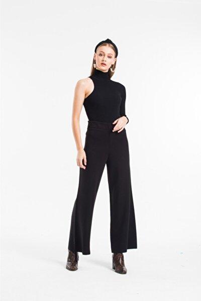 SereSepet Kadın Siyah Genç Triko Örme Yünlü Pantalon