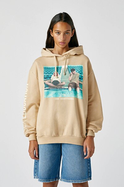 Pull & Bear Kadın Orta Camel Sex Education X Pull&Bear Maeve Ve Otis Sweatshirt 09594319