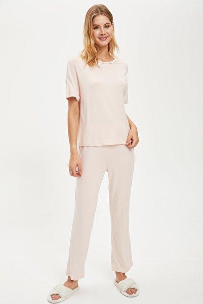 DeFacto Fit Kadın Lt.Pınk Regular Fit Basic Pijama Takımı S2068AZ20AU