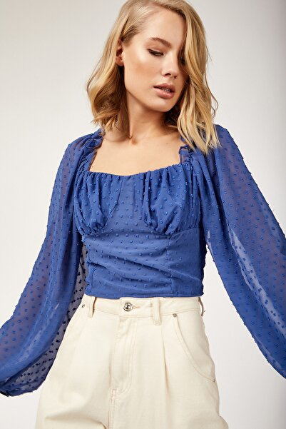 Happiness İst. Kadın Mavi Crop Top Bluz  FN02030