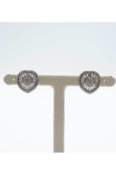 Swaroski Kalp Desenli Zirkon Taşlı 925 Ayar Gümüş Kadın Küpe