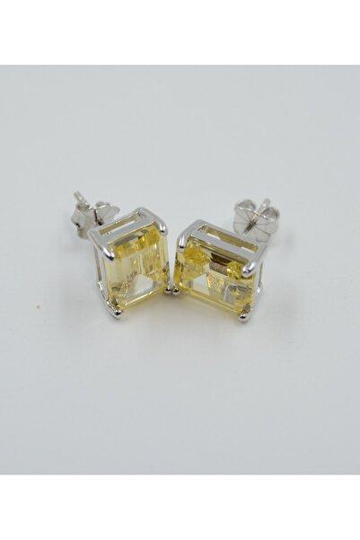Swaroski Dikdörtgen Desenli Sarı Zirkon Taşlı 925 Ayar Gümüş Kadın Küpe