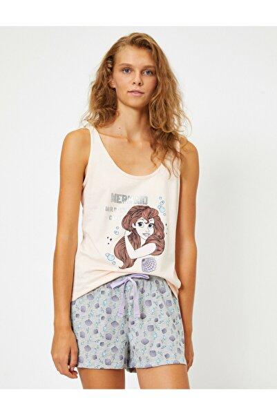 Koton Kadın Pembe Pamuklu Disney Lisansli Baskili Pijama Seti