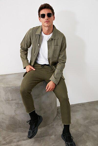 TRENDYOL MAN Haki Erkek Beli Lastikli Düşük Ağlı  Pantolon TMNAW21PL0106