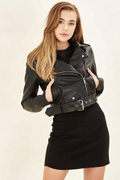 Arma Life Çıtçıt Detaylı Deri Ceket - Siyah