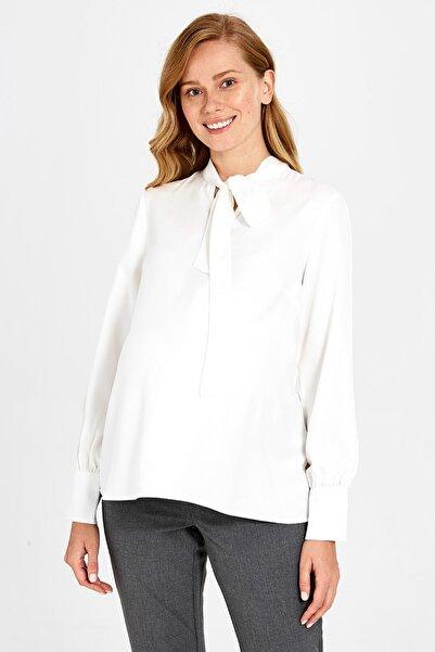 LC Waikiki Kadın Optik Beyaz Hamile Bluz 9WY326Z8