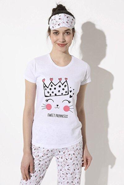 Arma Life Kedi Baskılı Pijama Takımı - Beyaz