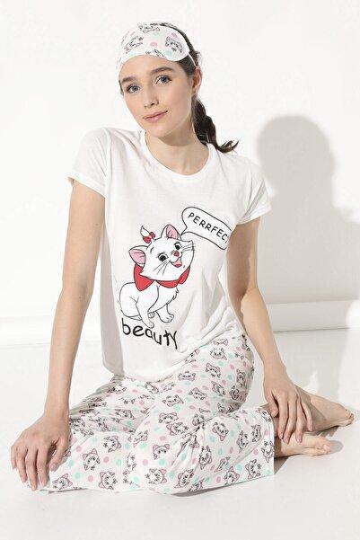 Arma Life Kedi Baskılı Pijama Takımı - Ekru