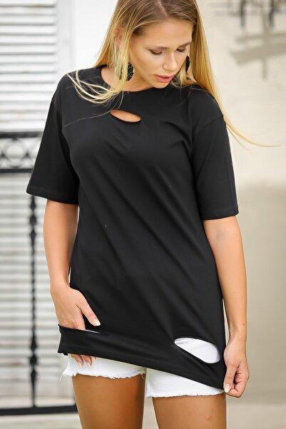 Chiccy Kadın Siyah Casual Lazer Kesim Detaylı Tunik Tshirt M10010300Ts98409