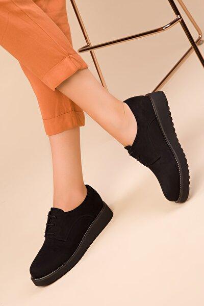 SOHO Siyah Süet Kadın Casual Ayakkabı 15261