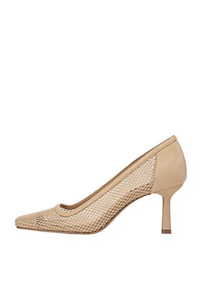Stradivarius Kadın Bej Fileli Yüksek Topuklu Ayakkabı 19657670