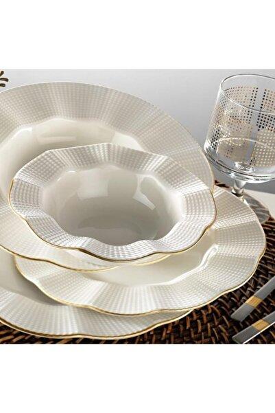 Kütahya Porselen Milena Altın Yaldızlı 24 Parça Yemek Takımı Krem Mln24y214r520