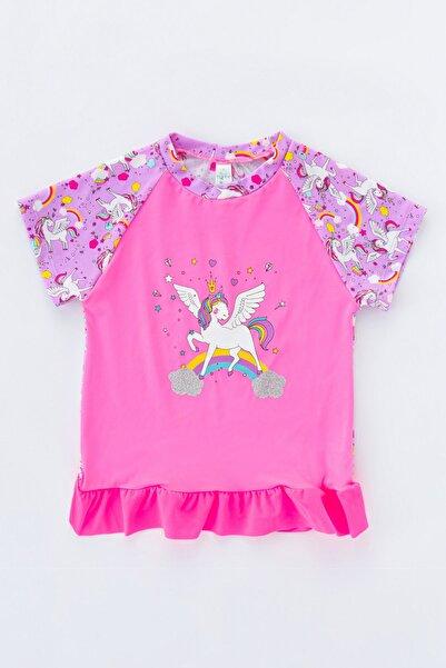 Penti Kadın Parlak Pembe Kız Çocuk Unicorn UV Top Mayo