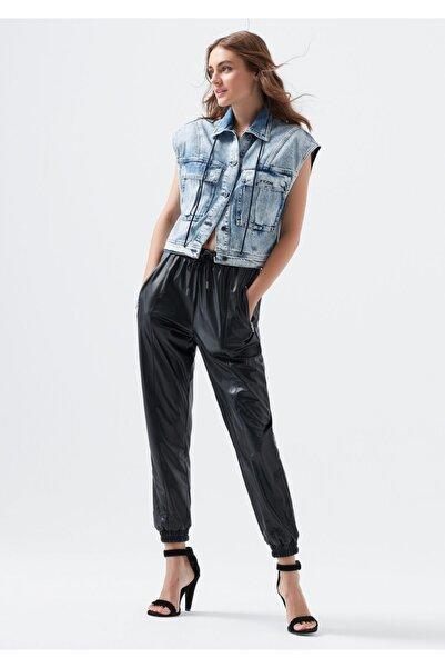 Mavi Kadın Siyah Fermuarlı Pantolon