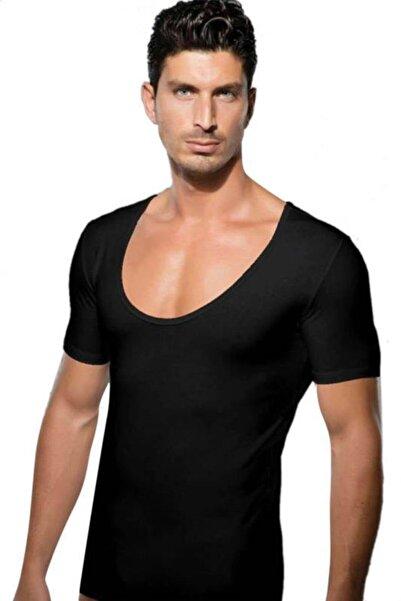Doreanse Erkek Siyah Geniş Yuvarlak Yaka Erkek T-shirt 2520