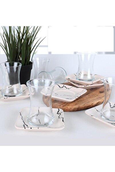 Keramika Mermer Desen 12 Parça Çay Takımı Beyaz