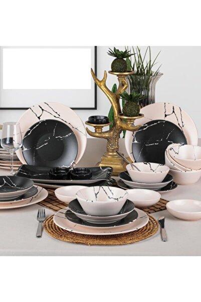 Keramika Mermer Yemek Takımı 32 Parça 6 Kişilik Yemek Takımı