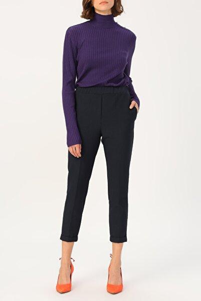 RANDOM Kadın Lacivert Beli Lastikli Yüksek Bel Pantolon