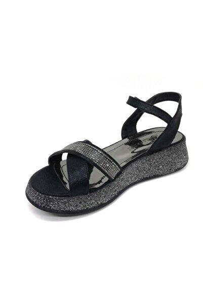 Markopark Kadın Siyah Taşlı Çapraz Bant Simli Sandalet