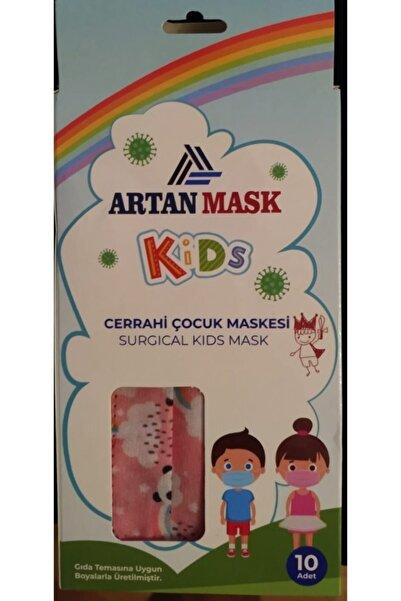 Kız Çocuk 3 Katlı Filtreli Lastikli Burun Telli Ultrasonik Cerrahi Yüz Maskesi 50 Adet