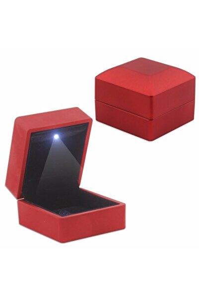 Tesbihgram Işıklı Kırmızı Renk Yüzük/alyans Kutusu