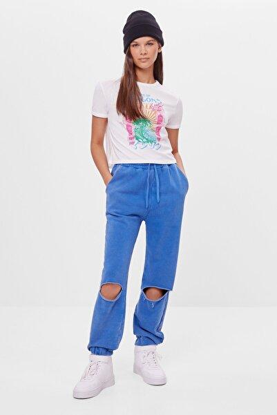 Bershka Kadın Mavi Yırtık Detaylı Jogger Pantolon