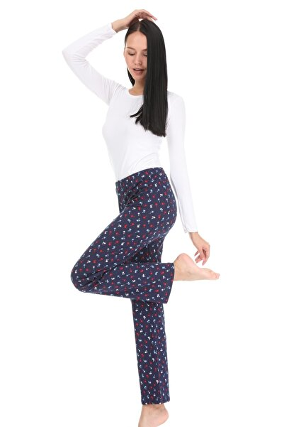 Vivoon Kadın Lacivert Minik Palmiye Desenli Pijama Altı