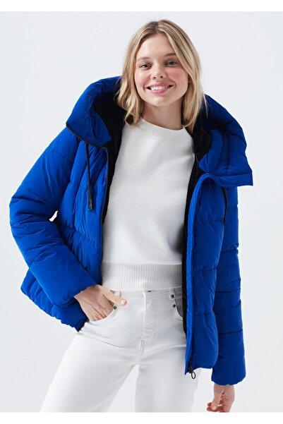 Mavi Kadın Kapüşonlu Lacivert Şişme Mont 110699-32213