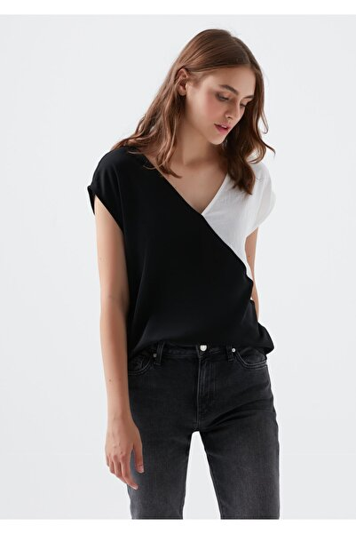 Mavi Kadın Siyah V Yaka Bluz