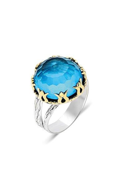 Midyat Gümüş Dünyası Aquamarin Taşlı Otantik Gümüş Yüzük