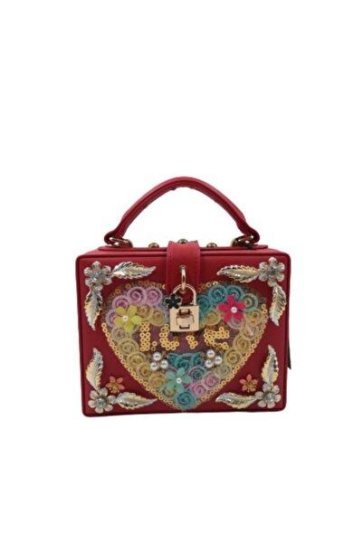 Queen Elizabeth Sy12 Kırmızı Işlemeli Kutu Çanta