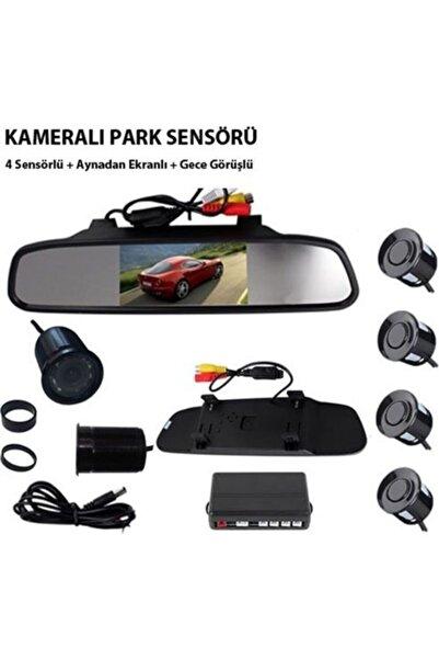 Marka Carub Kameralı Park Sensörü Aynalı 4 Sensörlü Gece Görüşlü
