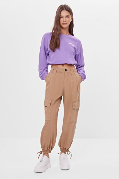 Bershka Kadın Kahverengi Kargo Harem Pantolon
