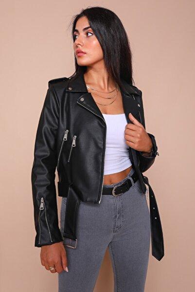 Cappmoda Kadın Siyah Kemerli Deri Ceket Ckt-12047