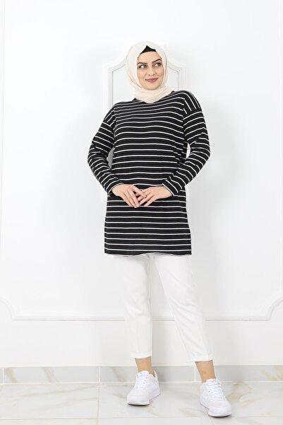 kombinal 03232 Kadın  Süprem Kumaş Çizgili Tunik - Siyah