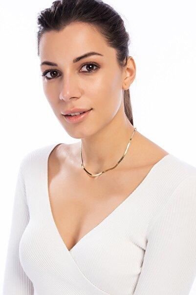 Söğütlü Silver Kadın İtalyan Yassı Zincir Yaldızlı Sarı-45 Cm SGTL7908YALDIZ