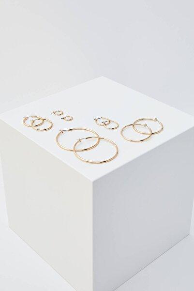 Pull & Bear Kadın Altın Rengi 5'Li Basic Halka Küpe Seti 09996334