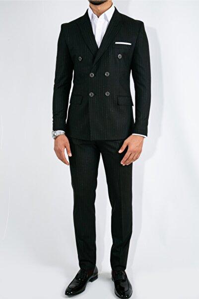 Suitmen Erkek Siyah Geniş Çizgili Slim Fit Kruvaze Takım Elbise