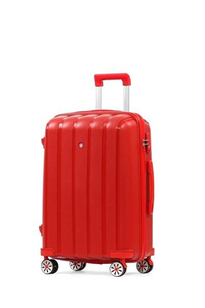 CENGİZ PAKEL Policarbon Valiz Büyük Boy-20305-b-kırmızı