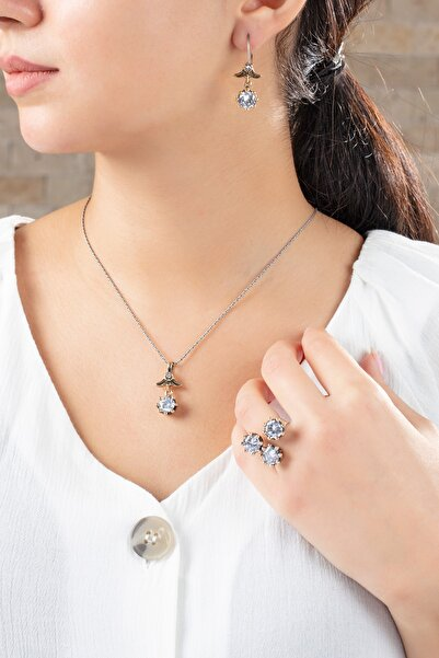 Midyat Gümüş Dünyası Zirkon Taşlı Çiçek Modeli Otantik Gümüş Üçlü Set