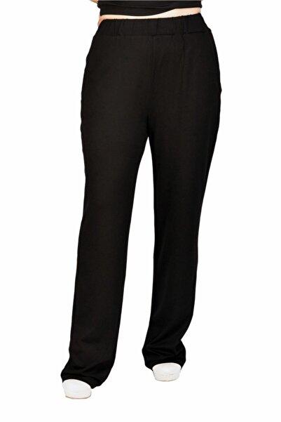 Otto Kadın Siyah Viskon Büyük Beden Klasik Pantalon
