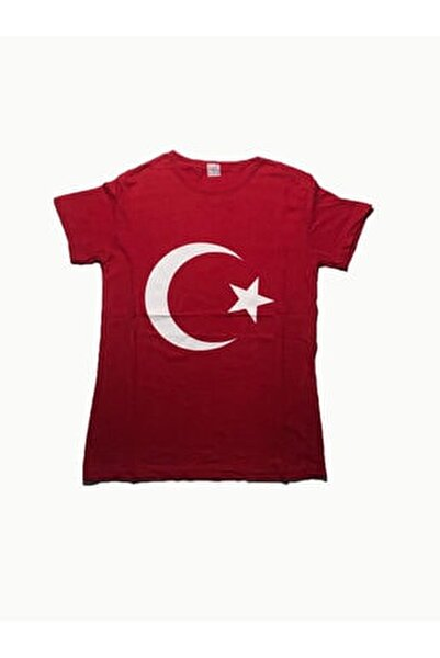 Erkek Kırmızı Türk Bayraklı Tshirt