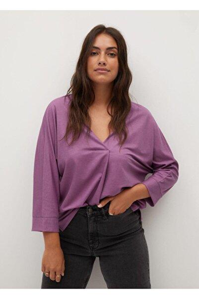 Violeta by MANGO Kadın Pembe V Yakalı Dökümlü Bluz