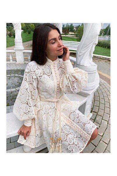 Ahsenserra Kadın Beyaz Gracia Güpür Elbise
