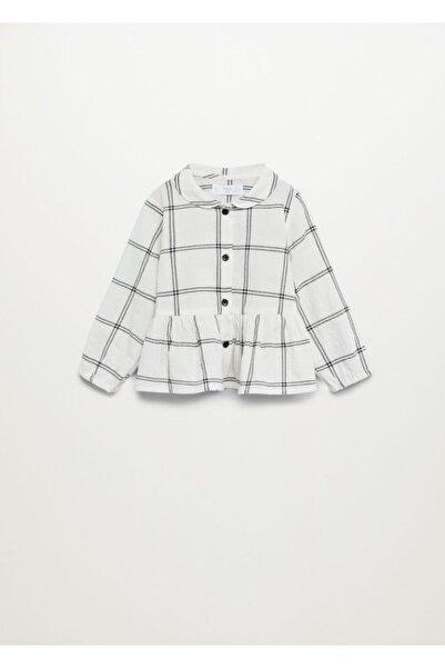 MANGO Baby Kız Çocuk Kırık Beyaz Kareli Koton Gömlek